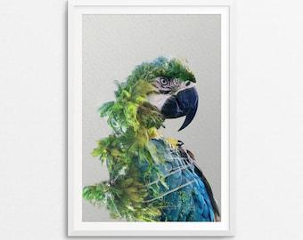 Parrot Print, Double Exposure, Tropical Bird, Double Exposure Print, Parrot Poster, Parrot, Parrot Art Print, Parrot Printable, Tropical Art