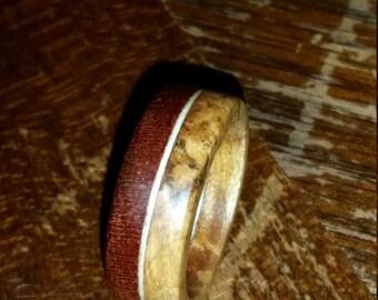 Size 5-1/4 Bubinga, maple burl and white veneer wood ring