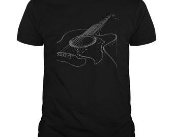 ACOUSTIC GUITAR T-shirt. Guitar t-shirt,Guitar players t-shirt,Guitar and pick t-shirt, Guitarist gift,Musical t-shirts,Musicians T-shirt