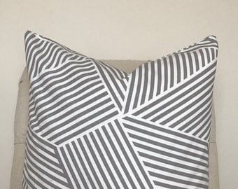 Grey Patterned Pillow Cover