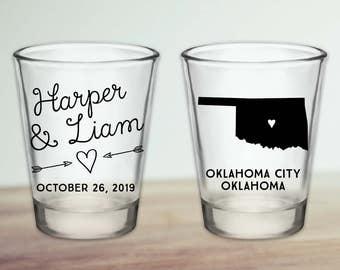 Custom Oklahoma Wedding Favor Shot Glasses