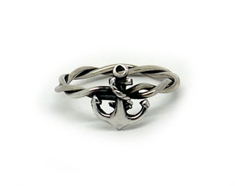 Silver Anchor Ring, 925 Sterling Silver Tattoo Inspired Anchor Ring