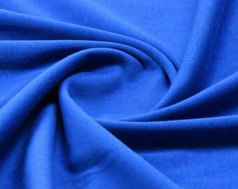 Plain Royal Blue 100% Cotton Interlock Double Jersey Fabric - per meter