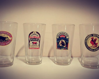 Guinness Beer Glasses// Extra Stout// Vintage