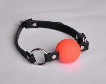 Ballgag Ball gag Quality black leather Red Ball Ga02blkRd
