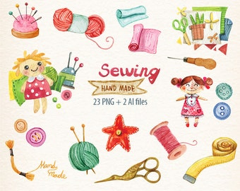 watercolor sewing, Sewing, craft, craft hobbys Clip art, Crafts Clipart, Knitting, Sewing, Crochet Watercolor Set