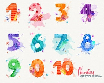 Watercolor Numbers Clipart, Numbers clip art, Digital numbers clipart, instant dawnload