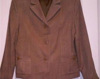 Vintage Ladies Covington Brown Herringbone Jacket. Size 16. Women's Large.Box Cut.