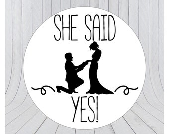 24 x She said yes stickers, Engagement stickers, Save the date labels, Envelope seals, Invitation seals, engagement seal stickers 033