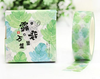 GREEN LEAF Japanese Washi Tape, Masking Tape, Planner Stickers,Crafting Supplies,Scraping Booking,Adhesive Tape,Deco Tape,Floral Washi Tape