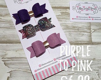 Pink to purple hair bows