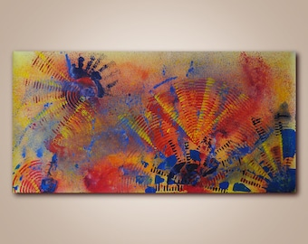 Abstract Art, Original Acrylic Painting, Ready to Hang, Office Design, Contemporary Modern Fine Art, Canvas, Large size, 24 x 48 in