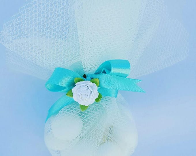 Tiffany theme candy favours in organza  or tulle bag. Weddings or baby shower favours.