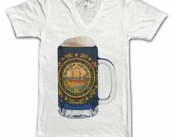 New Hampshire State Flag Beer Mug Tee, Unisex, Home State Tee, State Pride, State Flag, Beer Tee, Beer T-Shirt, Beer Thinkers, Beer Lovers
