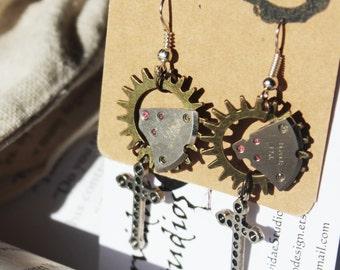 Steampunk Cross Earrings