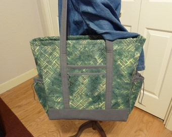 Working Woman's Large Gray and Green Professional Tote with outside, inside, and zippered pockets, Graduation Gift, Travel Bag, Computer Bag