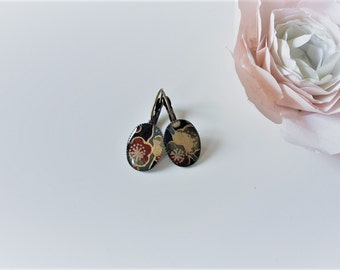 Earrings sleepers, paper Japanese cherry blossoms red and gray