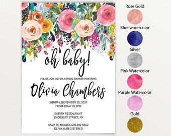 Floral Oh Baby! Baby Shower Invitation Template, DIY Instant Download JPEG, Digital Invite, Baby Shower Invitations, text color change 12