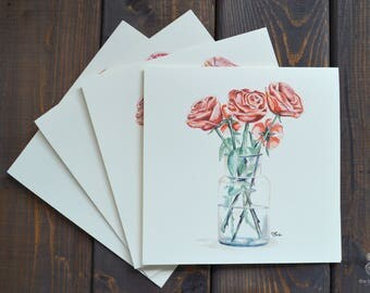 Rose Vase   Card Set (of 4) - Hand Painted