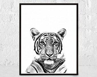 Tiger Print, Tiger Art, Tiger Wall Art, Animal Black and White, Black and White Prints, Nursery Wall Art, Tiger Printable Art, Tiger Poster