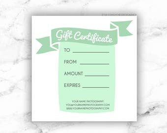 Printable Gift Certificate Template | Editable Photography Studio Gift Card design | Photoshop template PSD | INSTANT DOWNLOAD