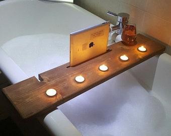 Bath Caddy, Tablet, Bath Shelf, Bath Plank, Bath Board, Bath Tray, Book, Ipad, Wine, Birthday gift, Pamper, Spa, Gift for her