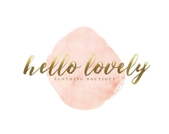 Pink Watercolor Logo / Wedding Logo Design / Clothing Boutique Logo / Pink and Gold Logo / Gold Photography Logo / Gold and Blush Logo