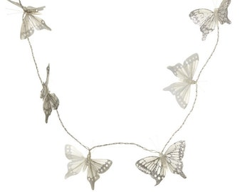White/Silver Butterfly Garland W/LED