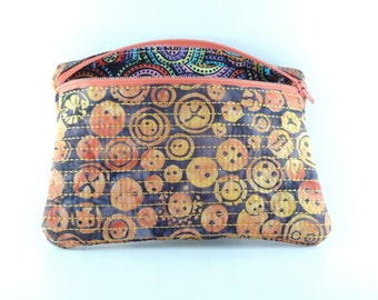 Embroidered and lined batik rectangle zipper bag
