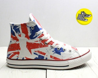 Union Jack British flag converse sneakers customization - handmade design