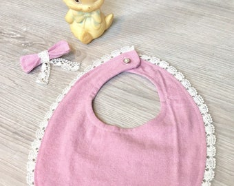 Pink hair bow, pink hair clip, vintage hair bow, vintage hair clip, lace hair bow, lace hair clip, vintage lace hair clip, vintage lace bow