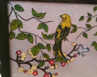 Bird glass art painting