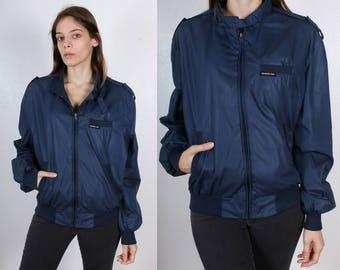 Vintage Members Only Jacket // 80s Navy Blue Windbreaker 1980s - Large 42