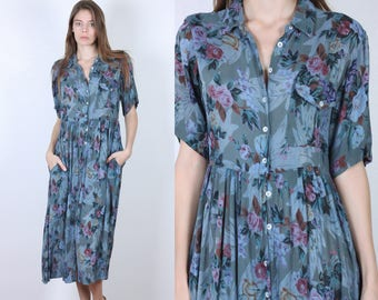 Sheer Floral Dress // 90s Grunge Vintage Blue Midi Short Sleeve Pocket Button Up - Medium to Large