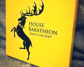 Jeu des trônes à la main fabriqué en bois «Ours est la fureur» BARATHEON signe