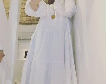 Long white dress with bell sleeves, handmade, CHIARA LUPPI designer