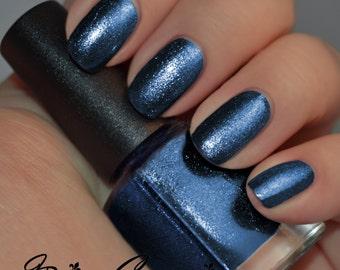 Haunted - Blue Metallic with Blue Sparkles Nail Polish