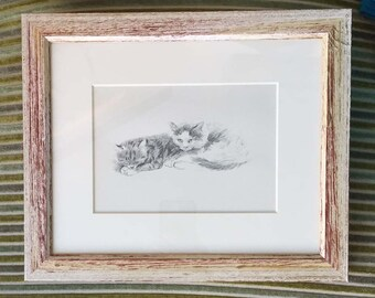 Framed Vintage Lucy Dawson Print of Two Cats