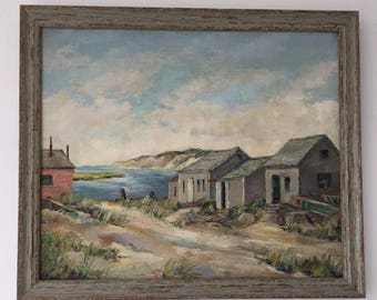 Vintage Oil Painting of Martha's Vineyard in a Driftwood Frame