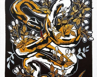 Entwined - Floral Snake Mixed Media Painting on Canvas