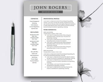 Resume Template. Professional Resume Template for Word and Pages. Modern Resume Template. Modern CV Template. Complete 1,2,3 Pages Template