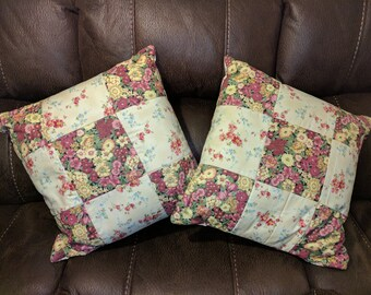 Handmade quilted floral pillows