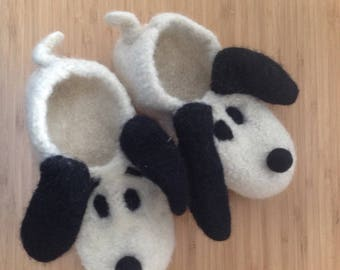 Felted Snoopy slippers Gr. 25-45