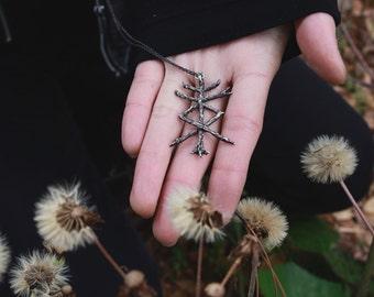 rune tree amulet fehu&raido: rune necklace,pagan,talisman,wicca,norse mythology,protection,occult,elder futhark,magic,statement,forest witch