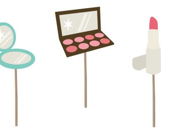 Cupcake Topper, Makeup cupcake topper, birthday cupcake toppers, makeup, makeover party, makeup theme, birthday party, party supplies,