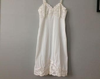 Vintage Ivory Chiffon Slip with Lace - Size 36 - Knee Length