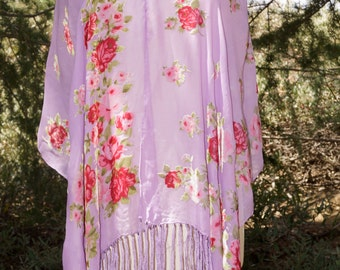 Bohemian Boho Purple Lavender Floral Silky Shawl Scarf Floral Fringe Kimono Cover Up