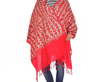 Indian Pashmina Embroidered Shawl Heavy Embroidery Cashmere Stole Scarves