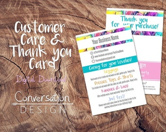 PrintableThank you & Care Instructions Card Customized, Personalized, digital download colorful unicorns