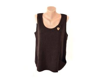 Vintage Deerberg women vest brown virgin wool Made in Germany